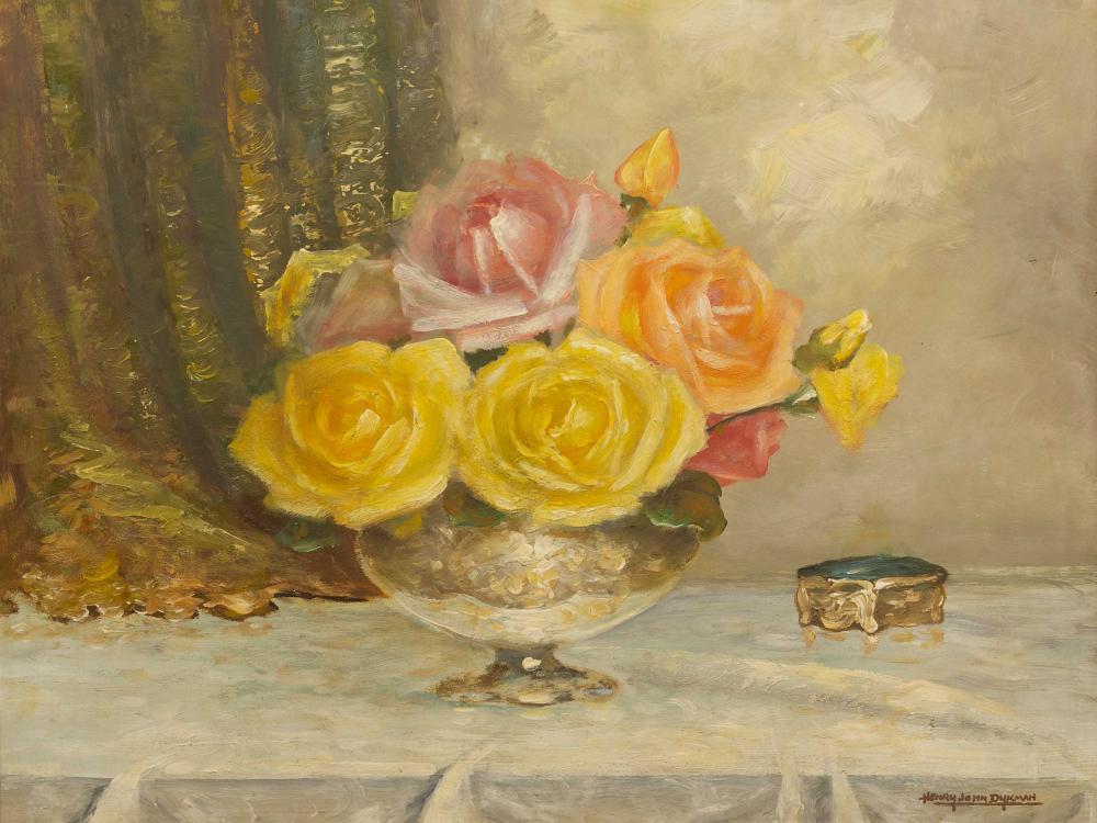 Henry John Dykman (SA 1893 - 1972) Oil, Still Life Roses, Signed, 40 x 50