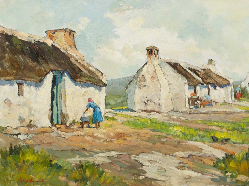 Bruce Hancock (SA 1924 - 1994) Oil, Cape Dutch Cottages & Figures, Signed, 35 x 50