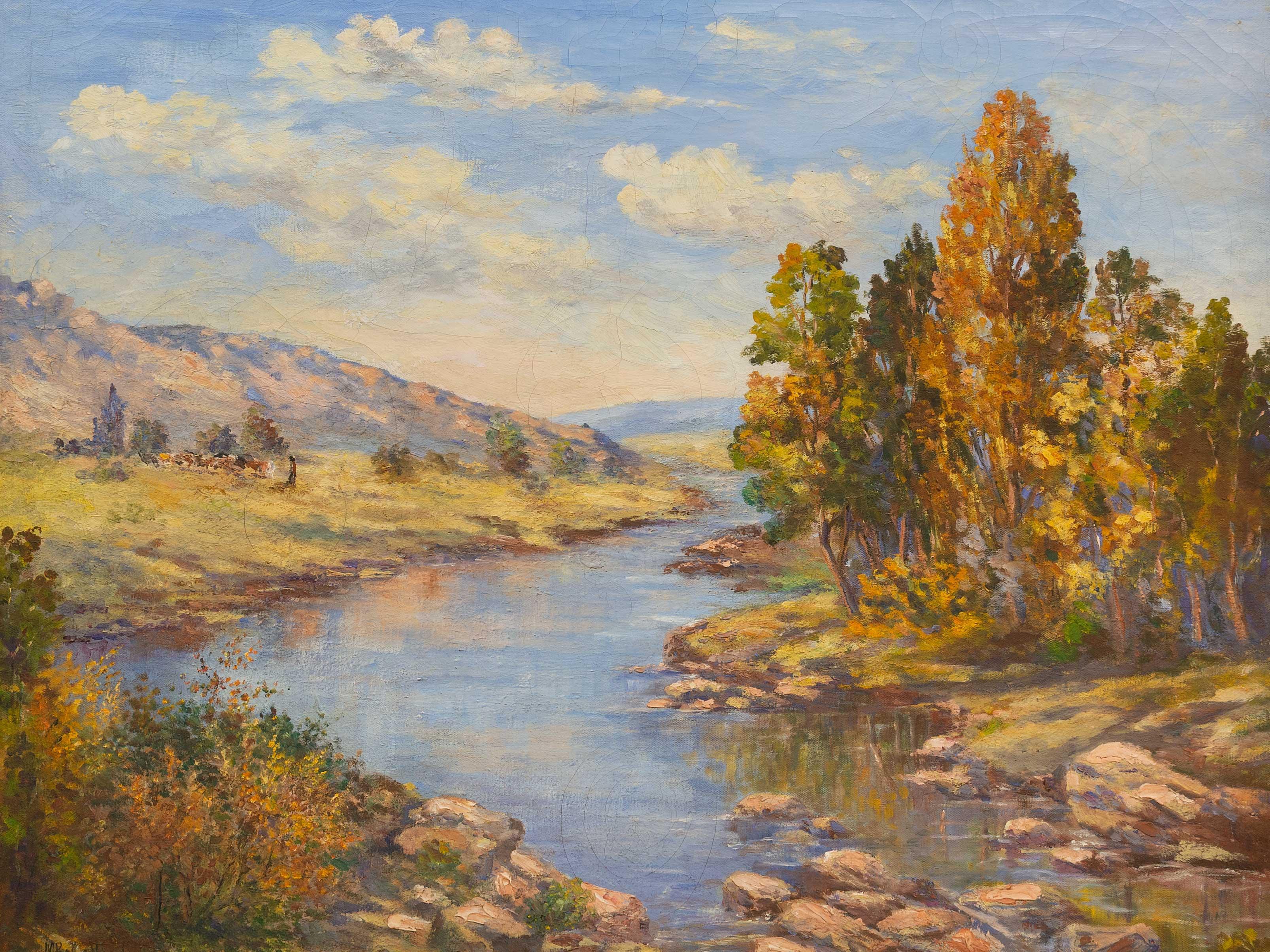 M. Botha Vogel (SA 20th C) Oil, River Landscape, Signed, 60 x 75