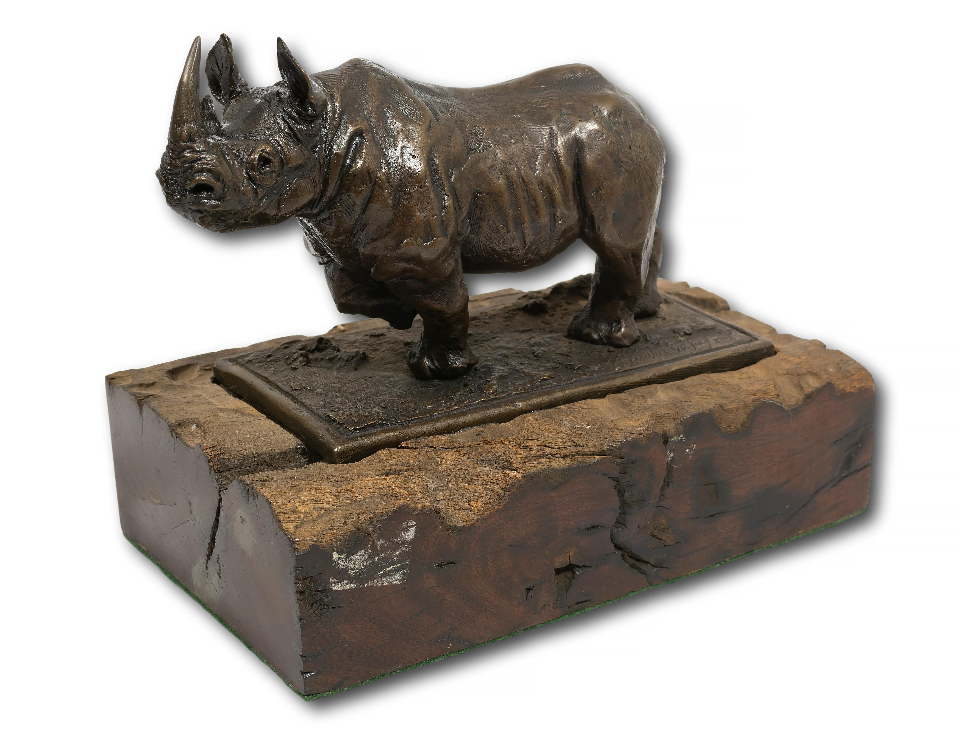 Sarah Lovejoy (SA 20th C) Bronze, Rhino,