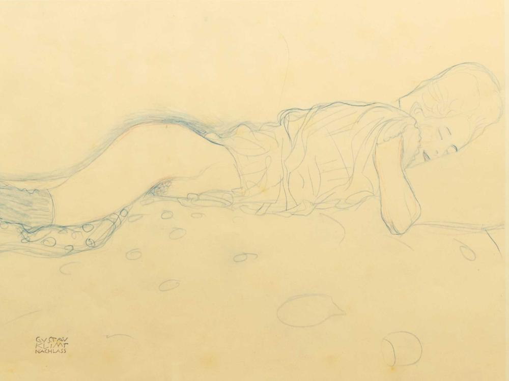 Gustav Klimt (Austrian 1862 - 1918) Pair of Lithographs, Reclining Figures, One Signed in the Plate, 38 x 56 sheet size each