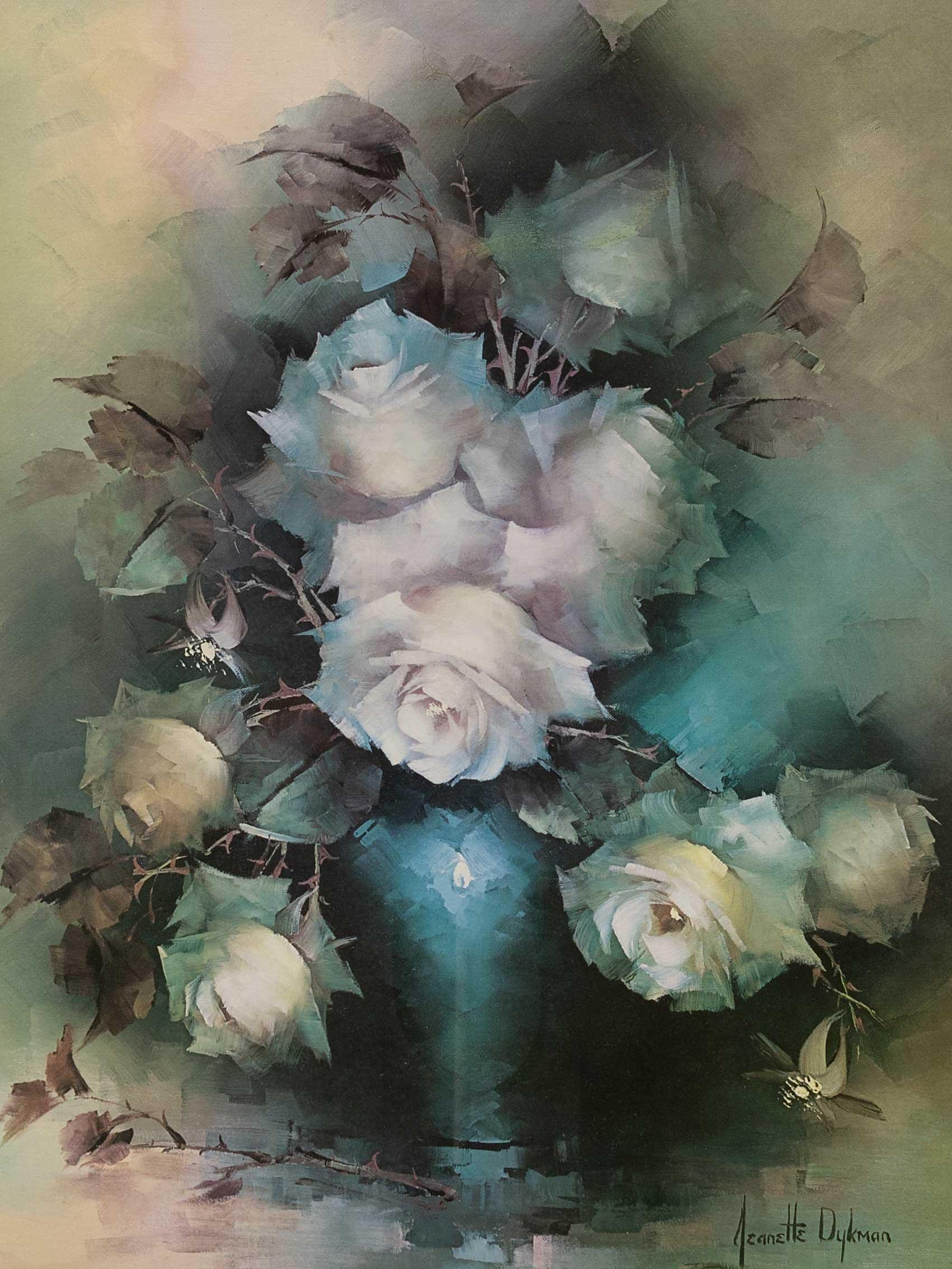 Jeanette Dykman (SA, born 1938) Oil, Still Life Roses, Signed, 50 x 37