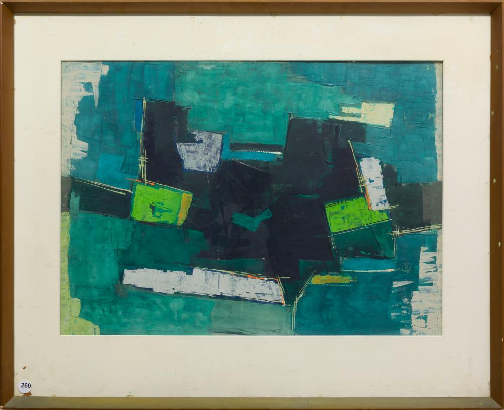 Francis Bott (German 1904 - 1998) Oil, Abstract Composition, Signed & Dated '58, 41 x 56