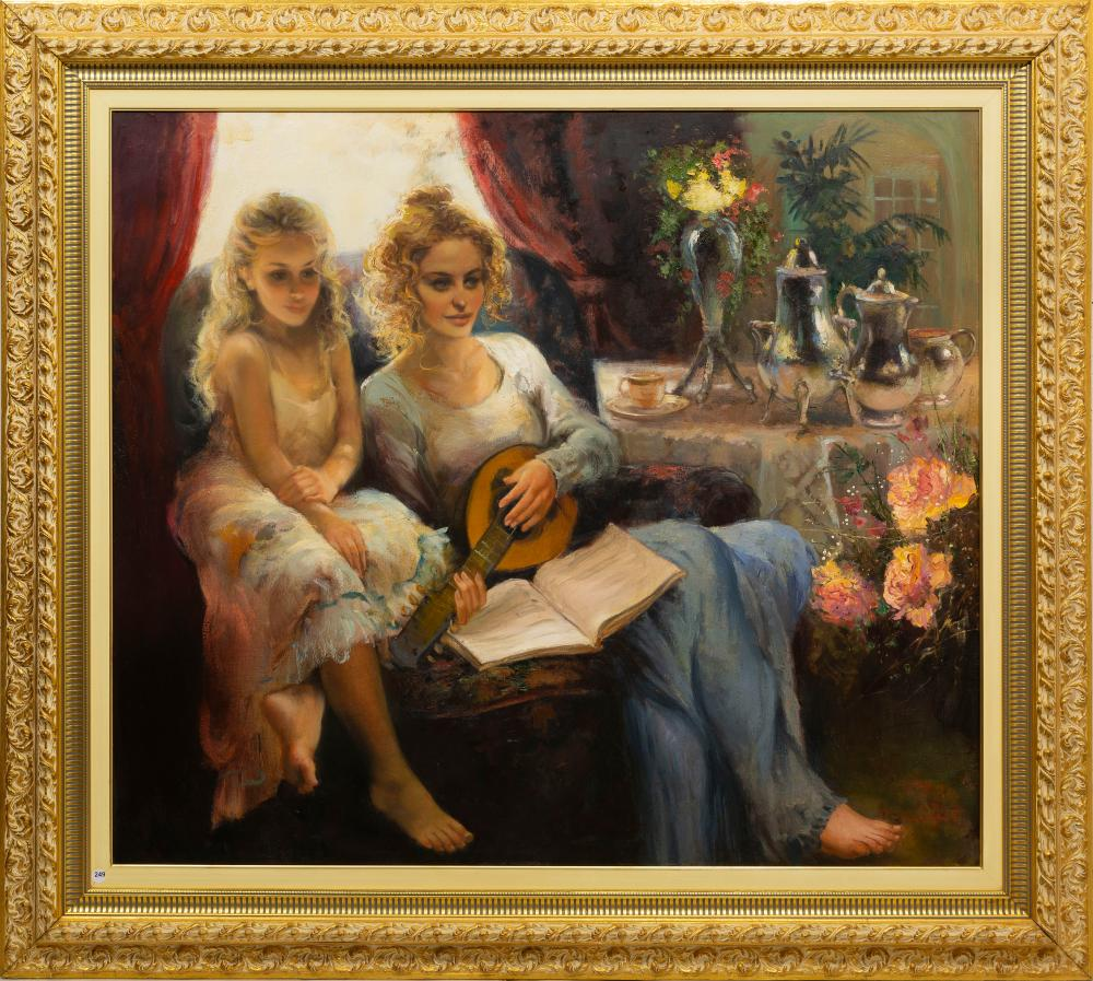 Marie Vermeulen Breedt (SA, born 1954) Oil, Mother & Daughter, Signed, 105 x 120