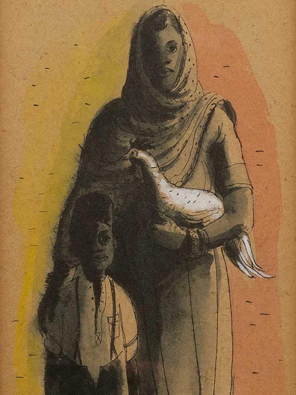 Leng Dixon (SA 1916 - 1968) Mixed Media, Mother Child & Bird, Signed, 27 x 13
