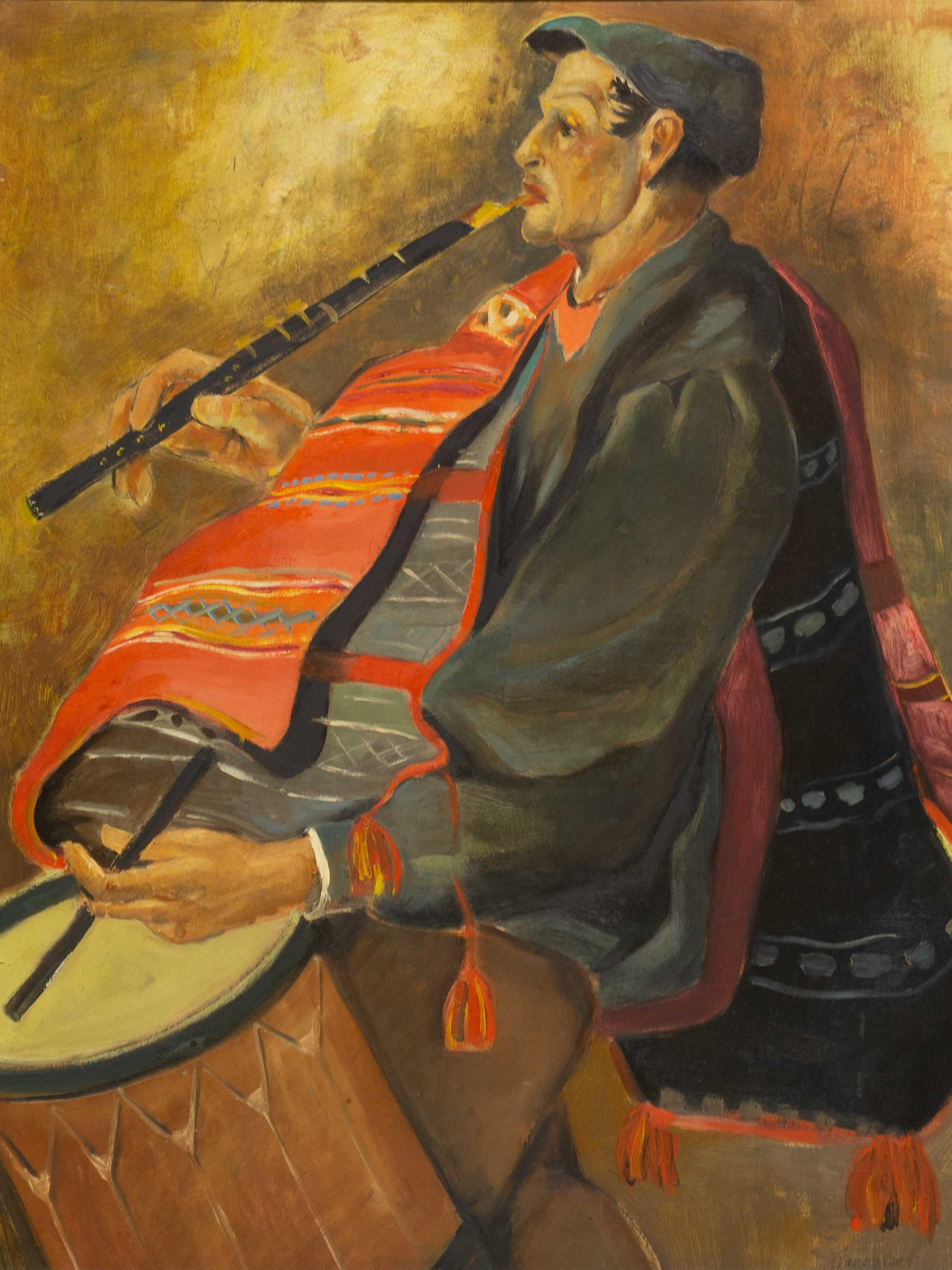 Attributed to Francis Bott (German 1904 - 1998) Oil, Portrait of a Musician, Signed, 58 x 47