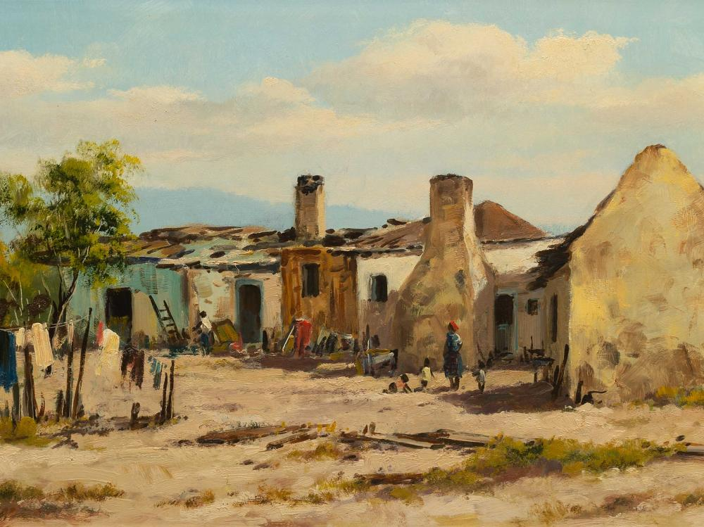 Otto Klar (SA 1908 - 1994) Oil, Labourer's Cottages with Figures, Signed, 36 x 78