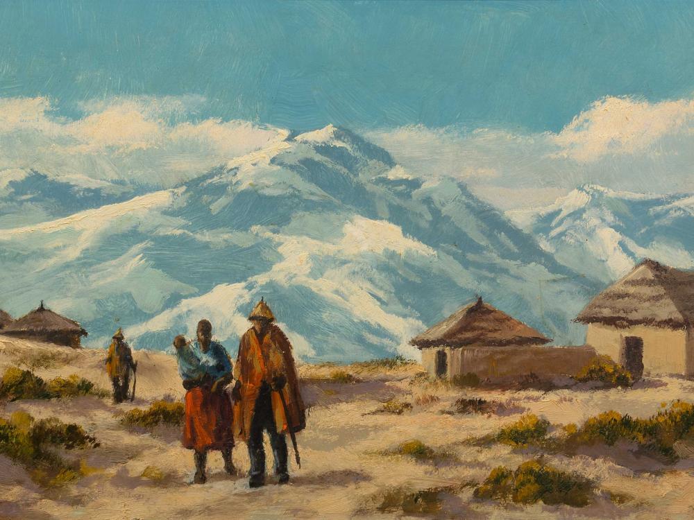 Otto Klar (SA 1908 - 1994) Oil, Basotho Family with Huts, Signed, 30 x 60