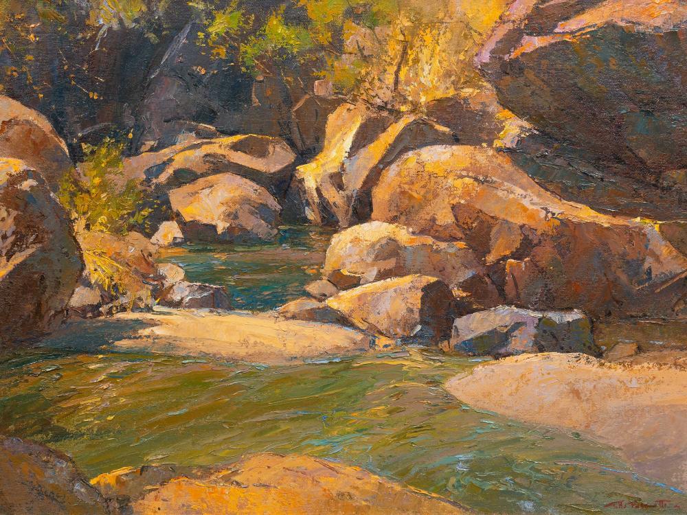 Titta Fasciotti (SA 1927 - 1993) Oil, Rocky River Landscape, Signed & Dated '87, 50 x 75