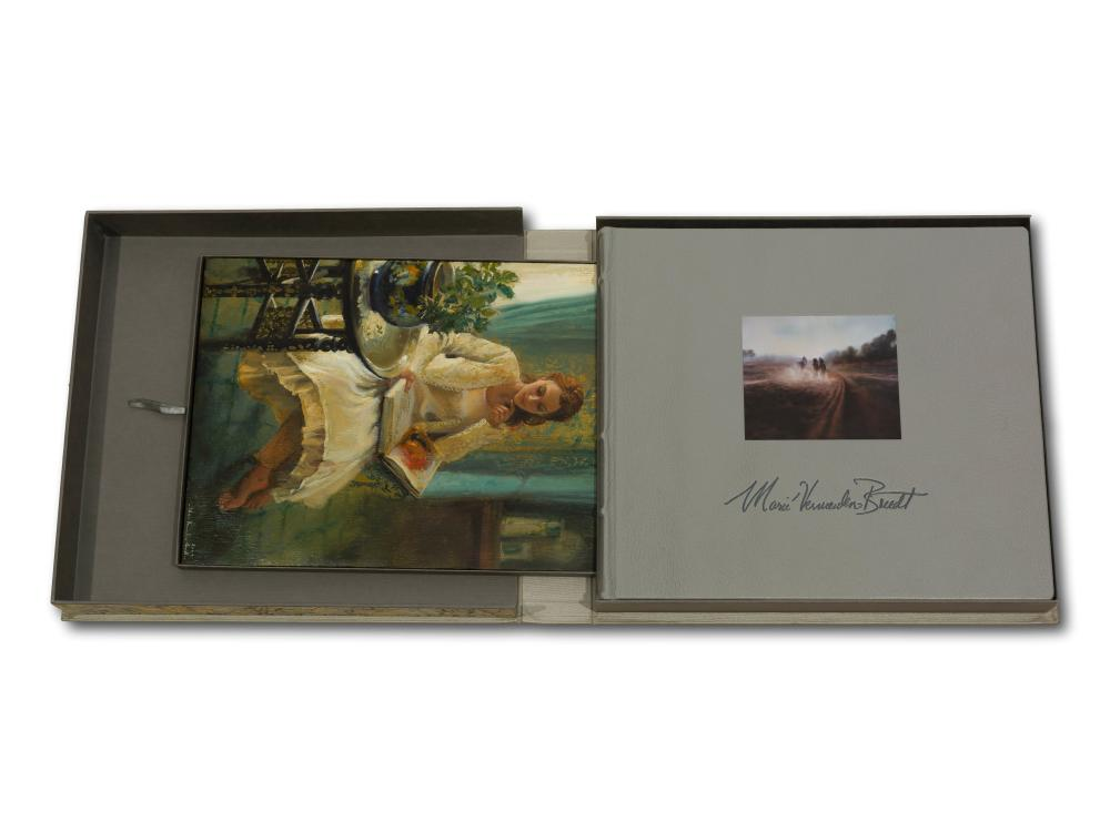 "Marie Vermeulen Breedt (SA, born 1954) Book, ""Inside/Out"", Collectors Edition Number Q/Z Signed & Dated 2009 accompanied by an original oil painting, Seated Lady Reading the Book, Signed, 33 x 25"