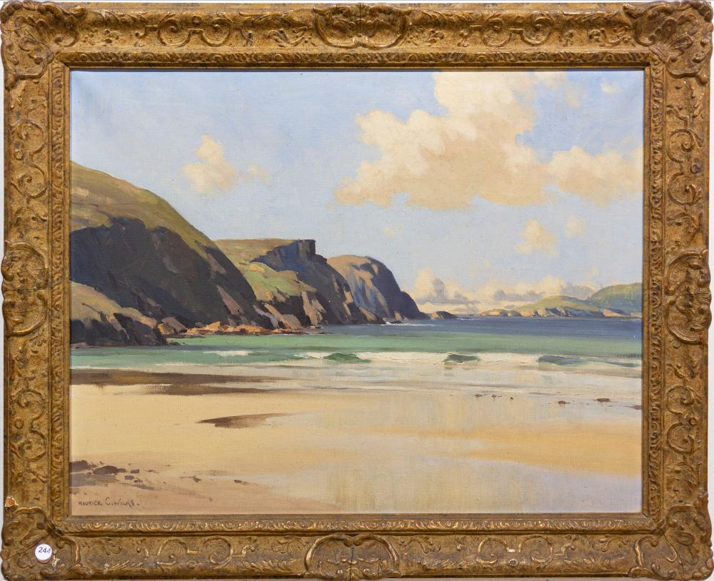 "Maurice Canning Wilks (Irish 1911 - 1984) Oil, ""Minaun Cliffs, Achill Island, County Mayo"", Signed Titled Verso, 55 x 70"
