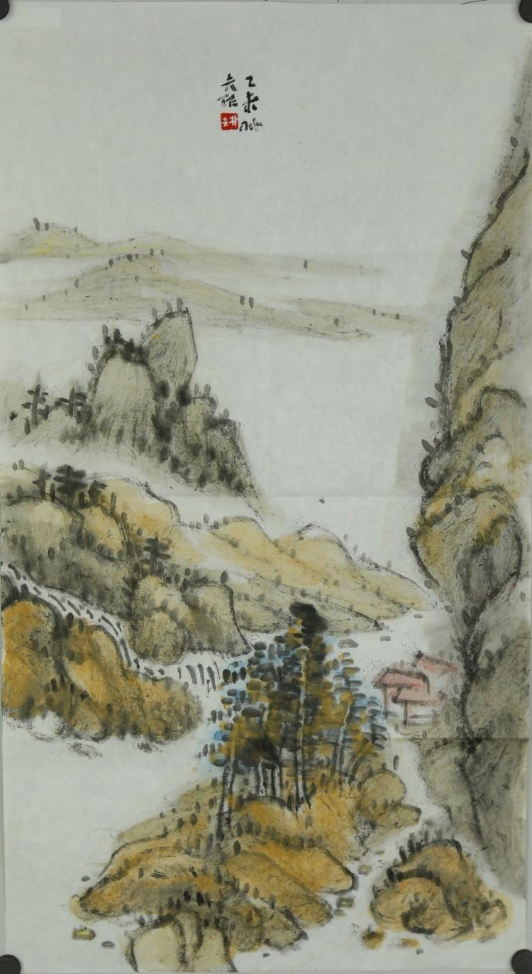 Watercolour on Paper Landscape Luo Pufu 1989-