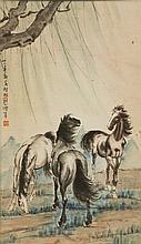 Xu Beihong 1895-1953 Watercolour Paper Scroll