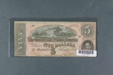 Feb 17 1864 Confederate States of America $5 Bill