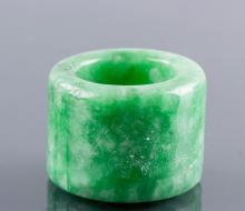 Burma Green Jadeite Carved Archer's Ring