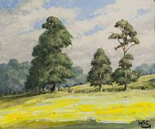 Winston Churchill British Oil on Board Landscape
