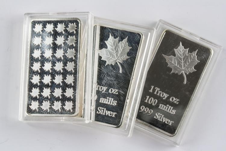 Three 1 Troy Ounce Fine Silver Bullion Bar Mint