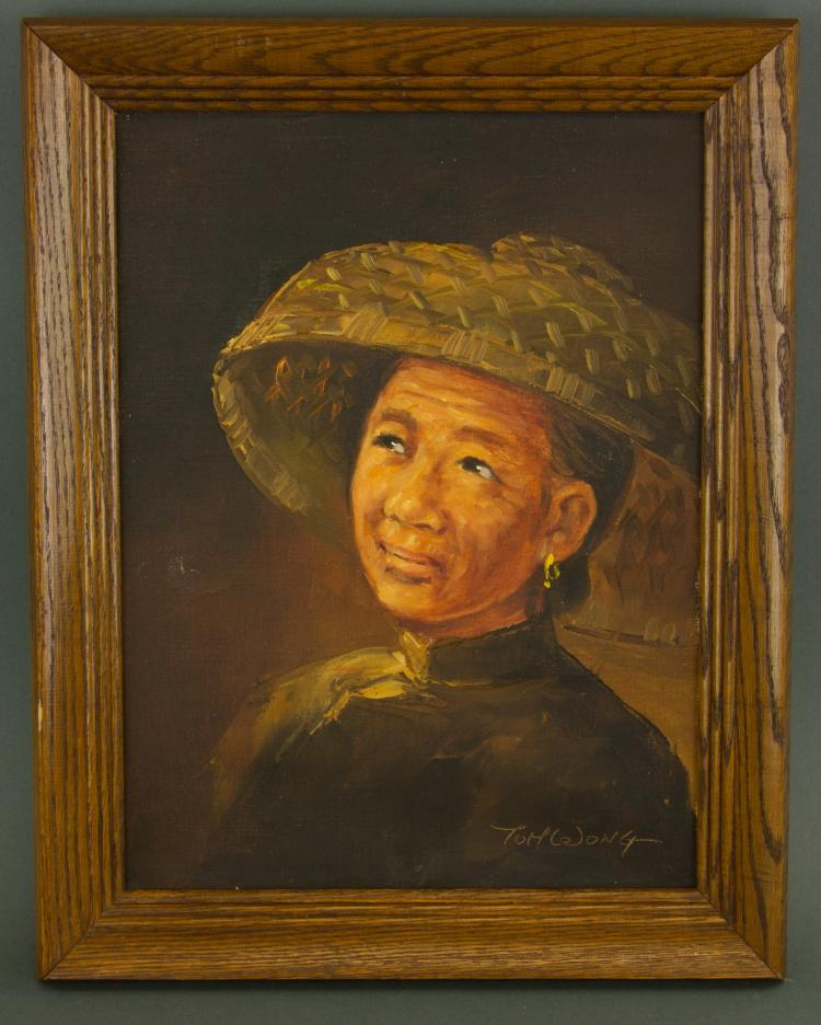 Chinese Oil on Canvas w/ Frame Signed by Artist