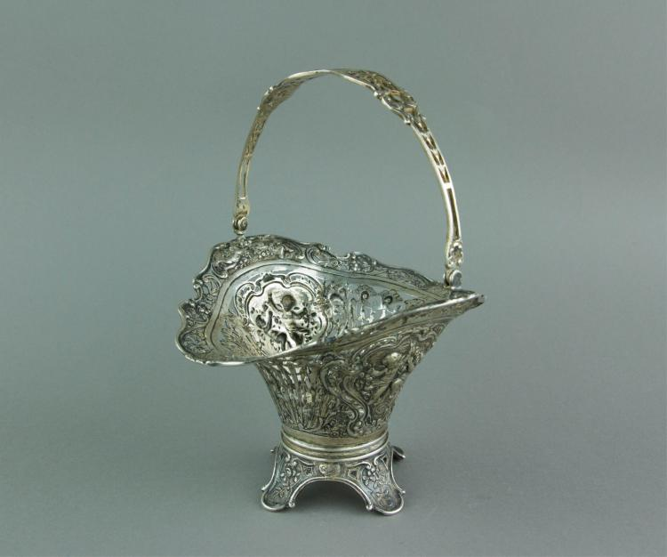 European Style Silver Cake Basket w/ Swing Handle