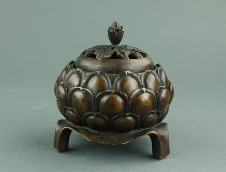Chinese Bronze Lotus Censer with Cover Xuande Mark