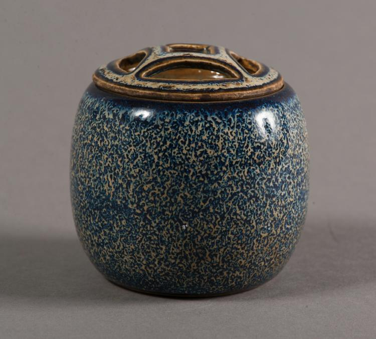 Chinese Blue Ground Porcelain Jar w/ Lid Kangxi Mk