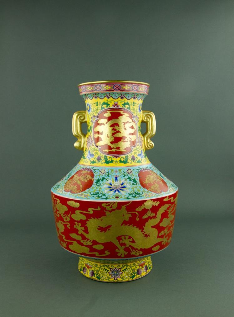 Imperial Famille Rose Porcelain Vase Qianlong Mark
