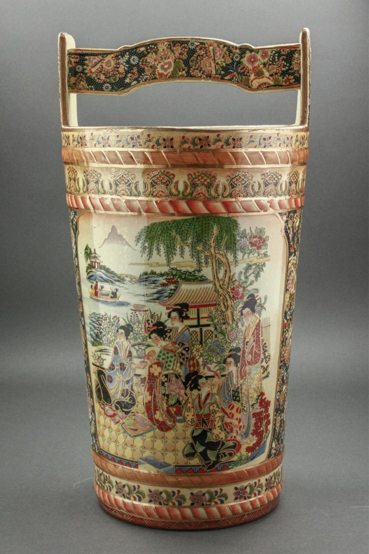 Japanese Enameled Porcelain Bucket