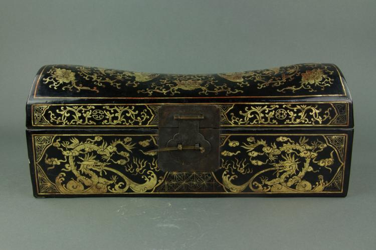 Chinese Black Lacquered Wood Pillow Box