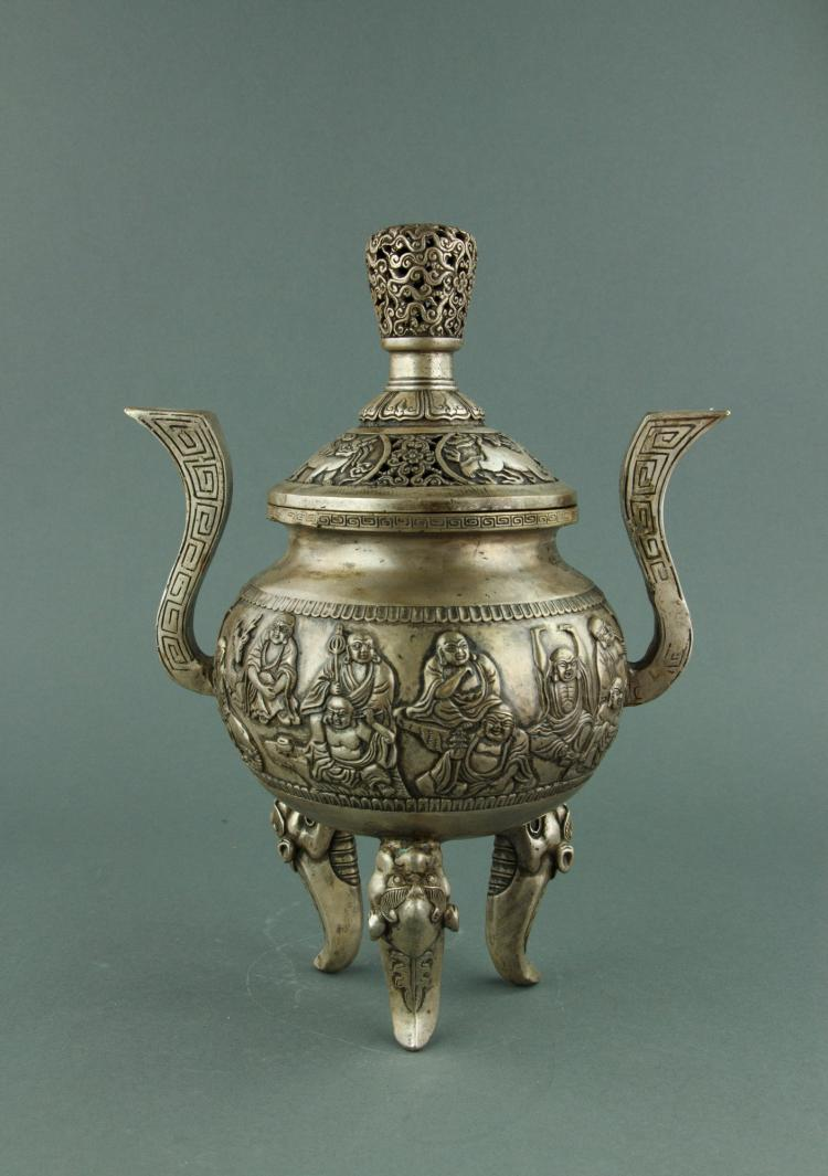 Chinese Silvered Bronze Censer w/ Lid Qing Mark