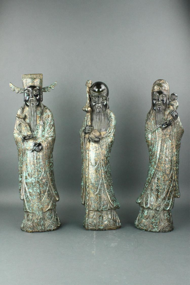 3 Pc Chinese Bronze Patinated Porcelain Figures