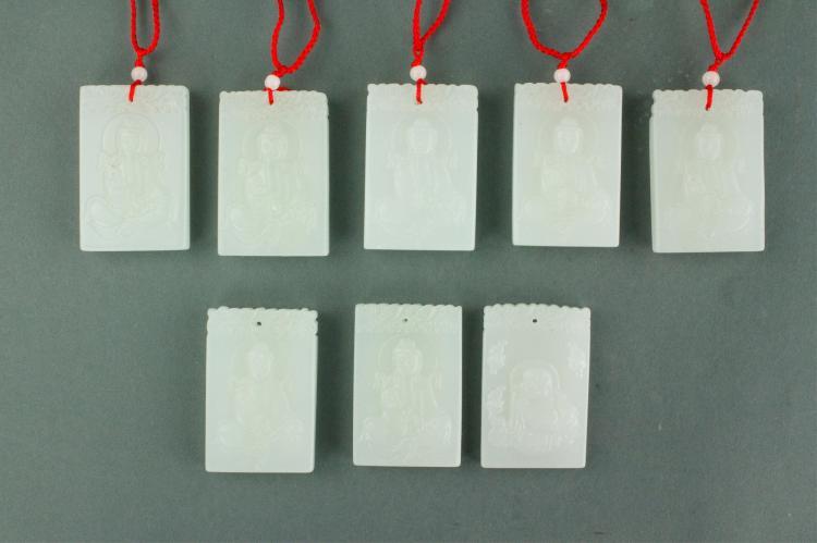 8 Pc Chinese White Hardstone Pendants