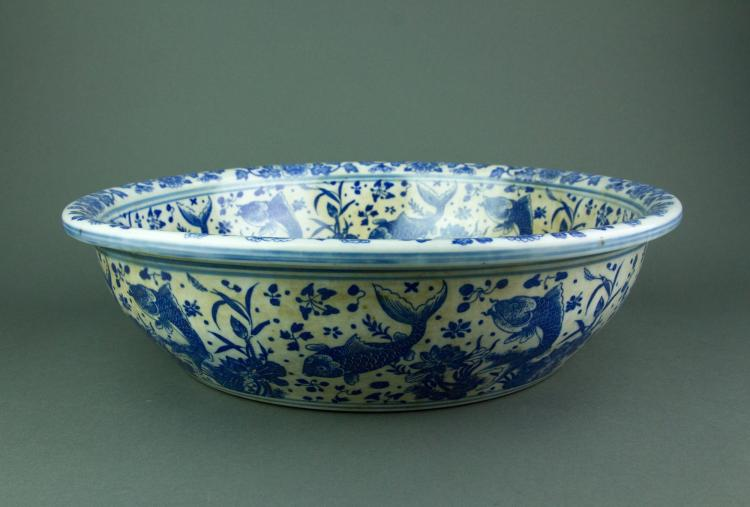 Chinese Blue and White Porcelain Basin Qianlong MK