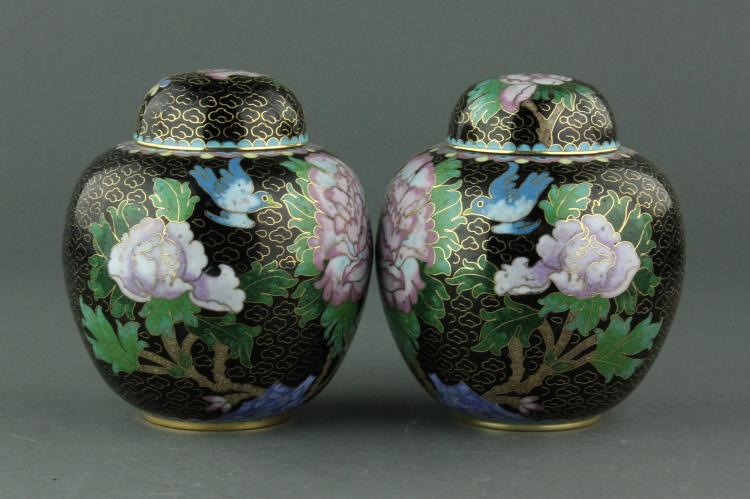 Pair of Chinese Cloisonne Bronze Jars w/ Covers