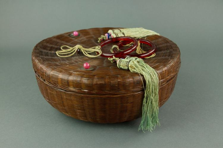 Chinese Rattan Basket w/ Red Hardstone Handles