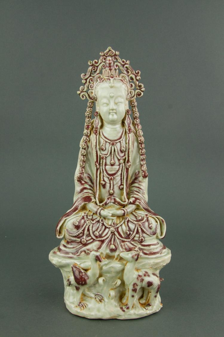Chinese Copper Red Porcelain Guanyin Figure
