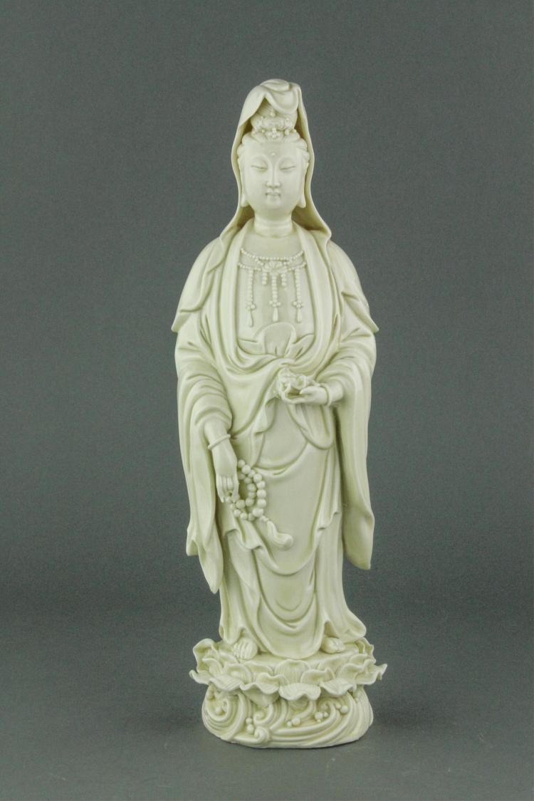 Blanc De Chine Porcelain Figure He Chaozong Mark