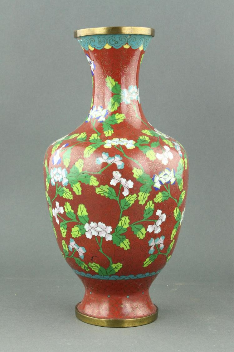 Chinese Cloisonne Bronze Vase CHINA Mark