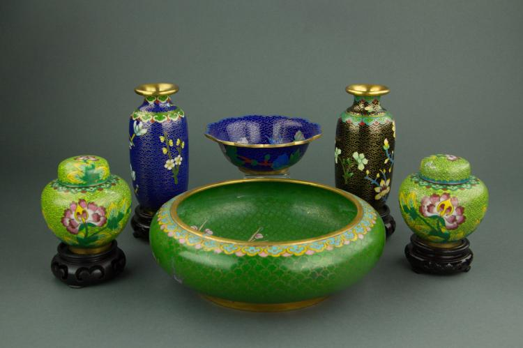 5 Pc Cloisonne Bowl & Small Vase & Jars