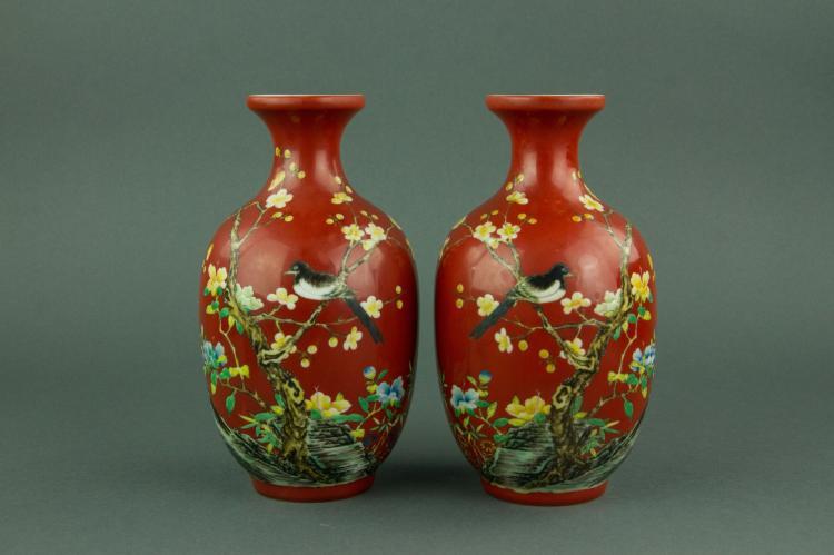 Pair Fine Famille Rose Porcelain Vases Yongzheng