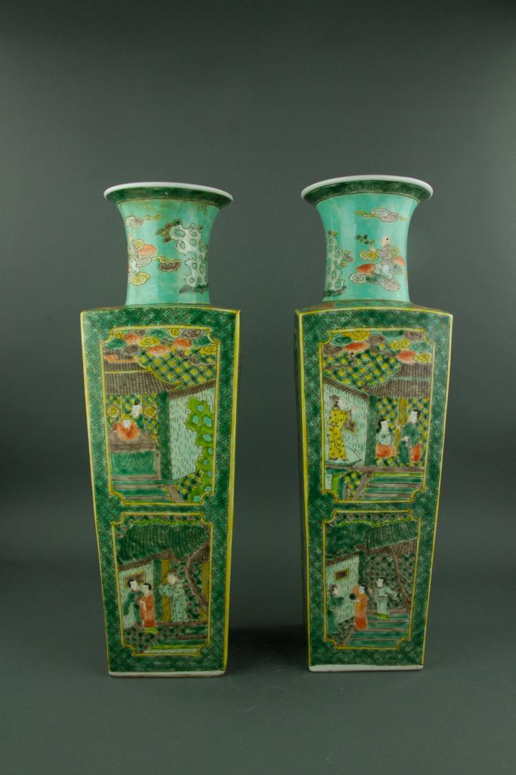 Pair Chinese Famille Verte Porcelain Vase Kangxi M