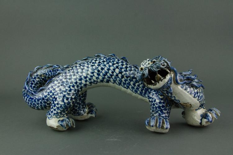 Chinese Blue & White Porcelain Dragon Qing Period
