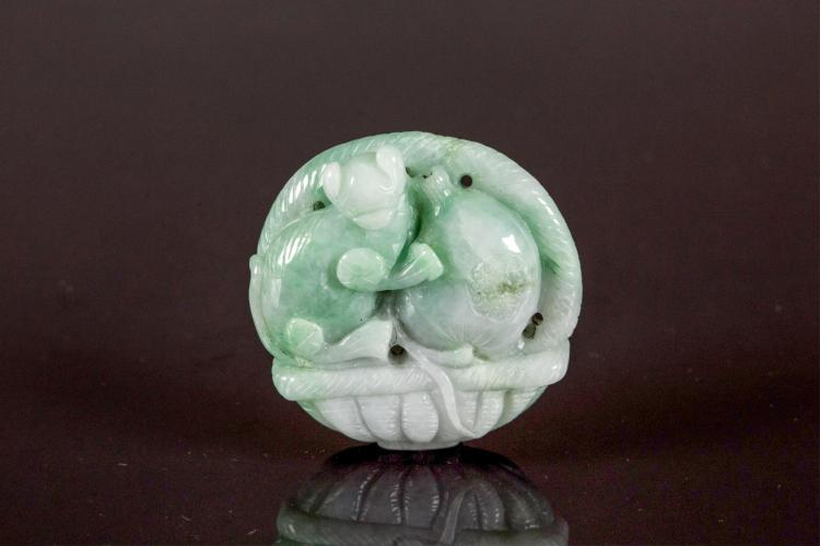 Chinese Green Jadeite Carved Lucky Basket