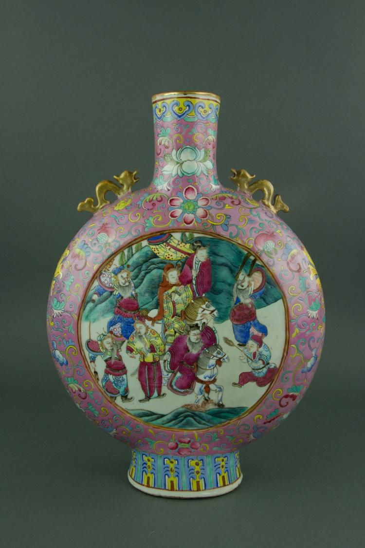 19th C. Famille Rose Porcelain Vase Xuande Mk
