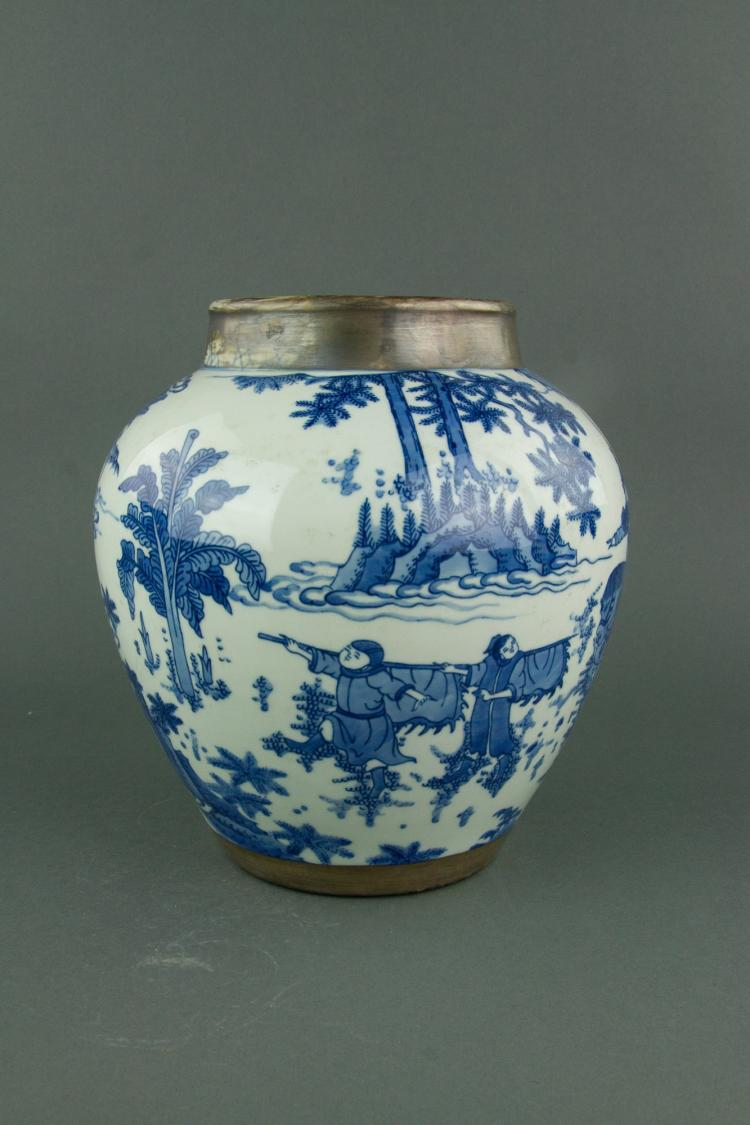 Chinese Blue & White Silvered Porcelain Jar