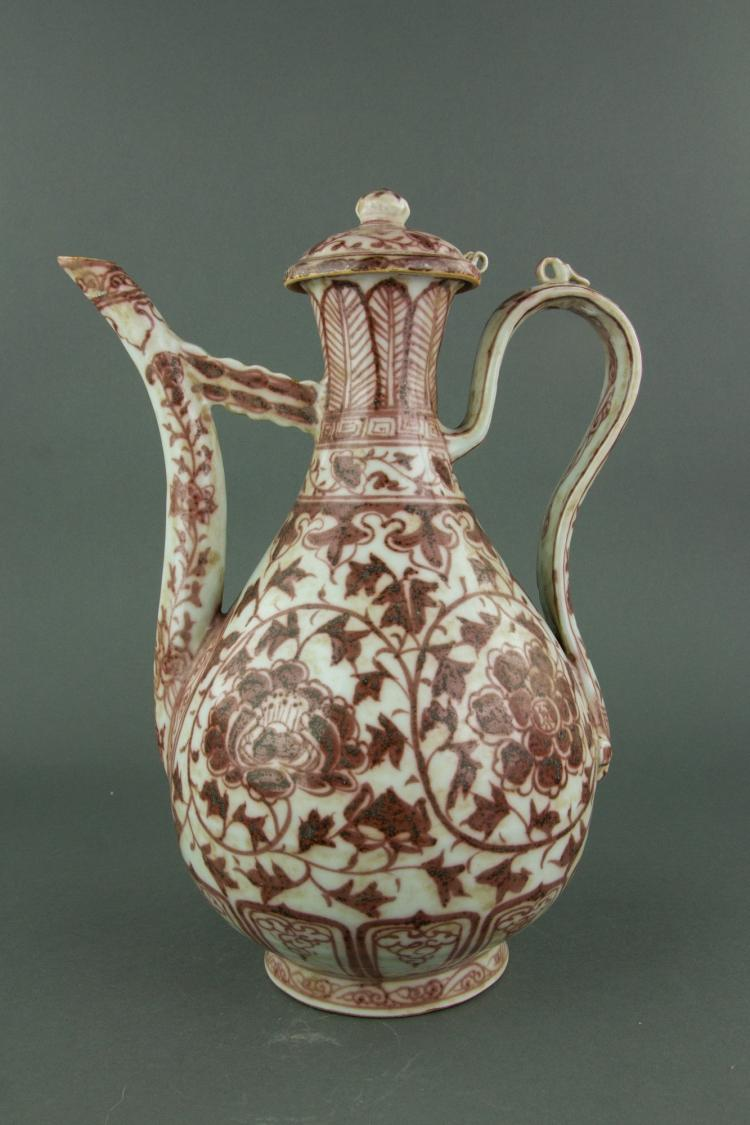 Fine Copper Red Porcelain Ewer Ming Hongwu Type