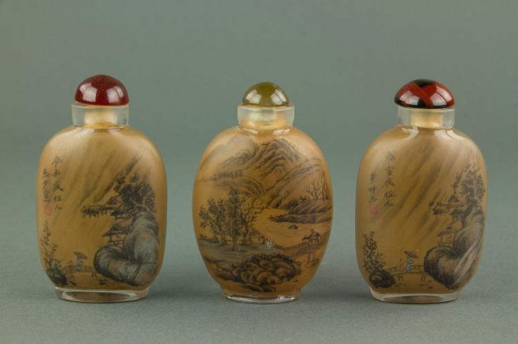 3 Pc Chinese Reverse Painted Peking Snuff Bottles