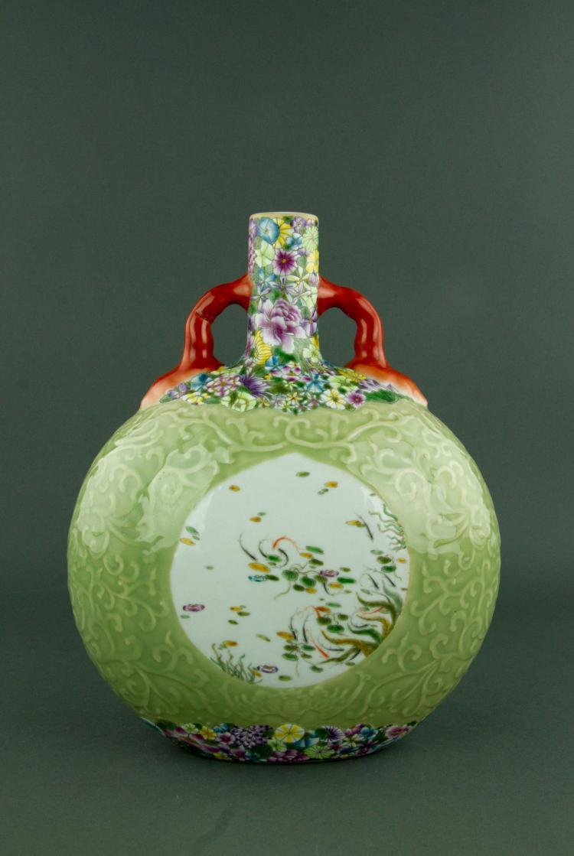 Famille Rose Porcelain Moon Flask Vase Qianlong MK