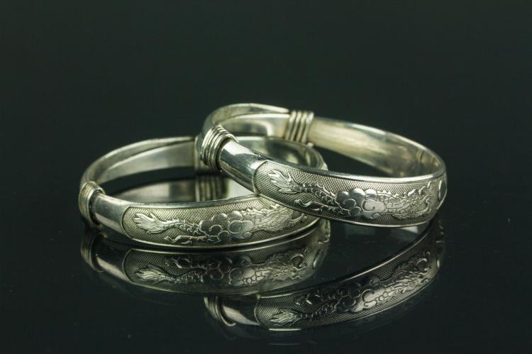Pair Chinese Silver Bracelets Zu Yin Mark