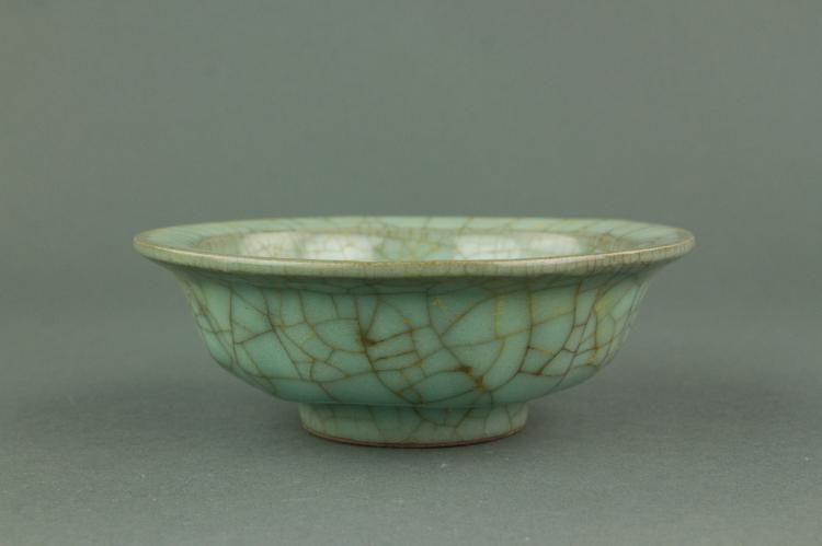 Chinese Ge Type Porcelain Bowl Double Fish