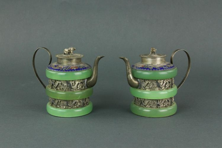 Pair Chinese Silver Teapot w/ Green Hardstone Deco